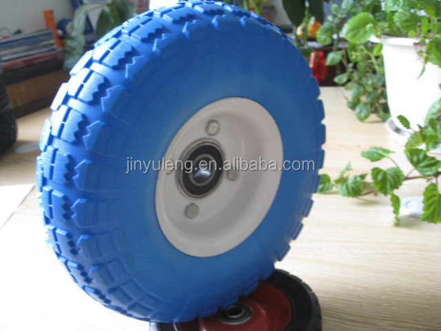 10inch 3.50-4 solid wheel pu foam wheel for hand trolley castor Heavy Duty Solid Rubber Flat Free Tubeless Hand Truck/Utility