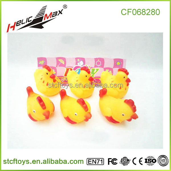 new products vinyl animal chicken duck toys soft baby bath toys for kids 6pcs PVC packing