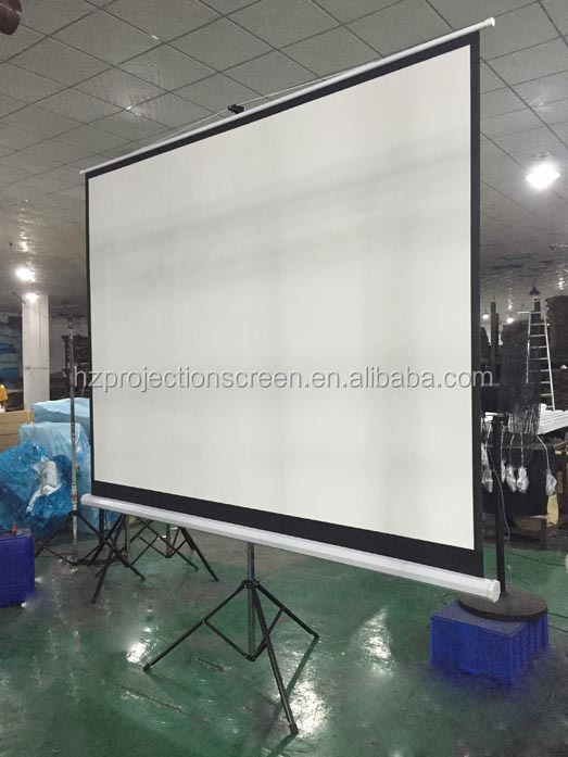 screen projection with tripod style matte white fabric