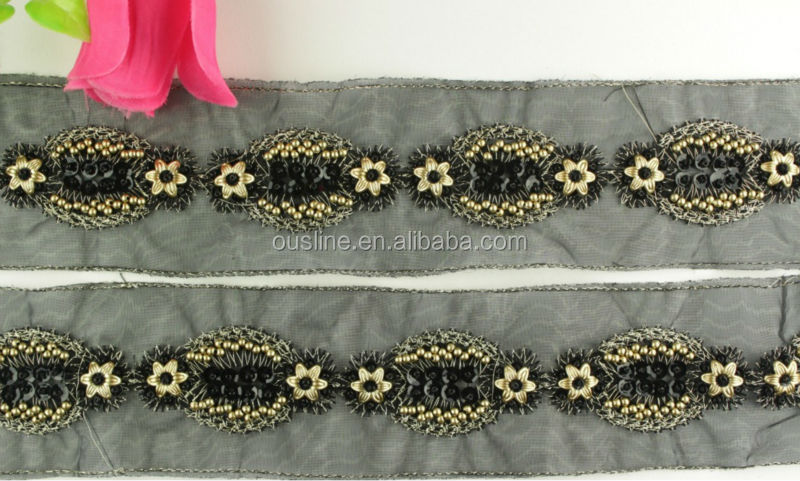 Wholesale Gold Thread Embroidery Crystal Beaded Lace Trim