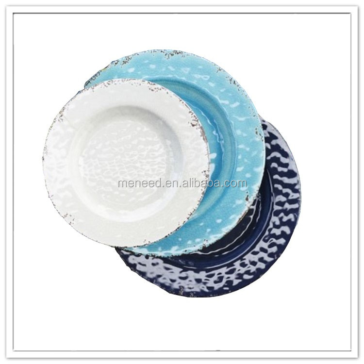 "8""/ 10"" Printed soup dessert platter set, restaurant & hotel dishwasher wholesale custom melamine dinner plate"