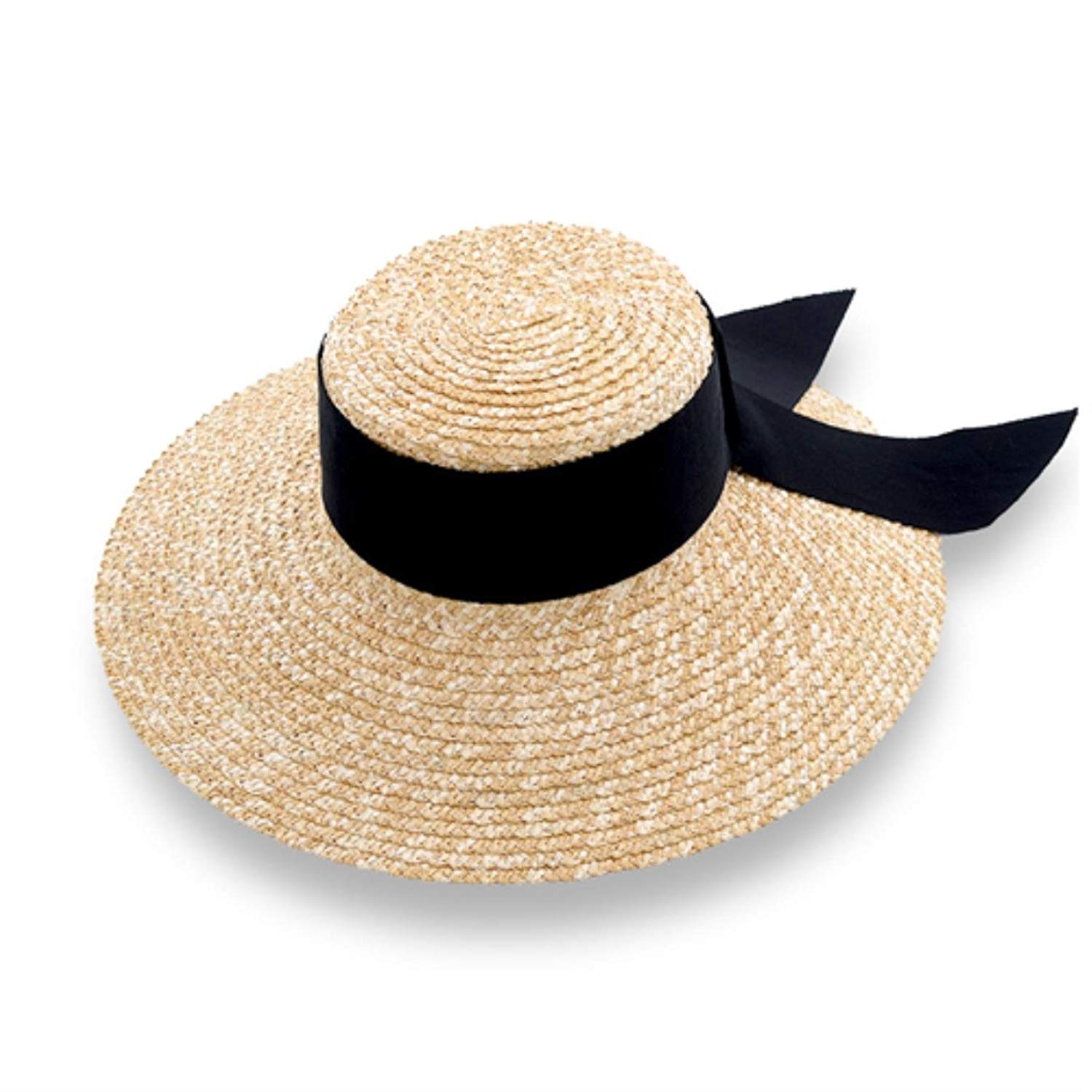 bf5ae7ce Get Quotations · Summer Straw Hat for Women Beach Hat Casual Handmade  Ribbon Bowknot Hat Lady Flat-top