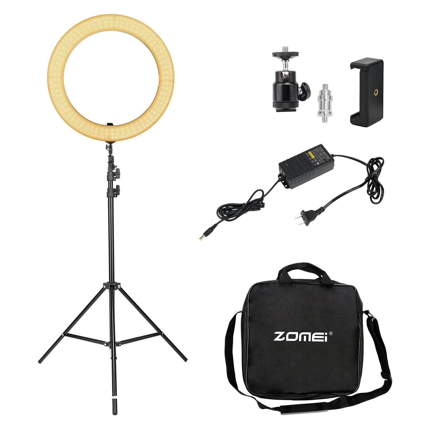 LED Ring Light, Zomei 18 Inches Lighting Kit with Stand for Smartphone and Youtube Video Shooting, 2700-5500K Dimmable Makeup Light with Phone Adapter, Hot Shoe and Carrying bag
