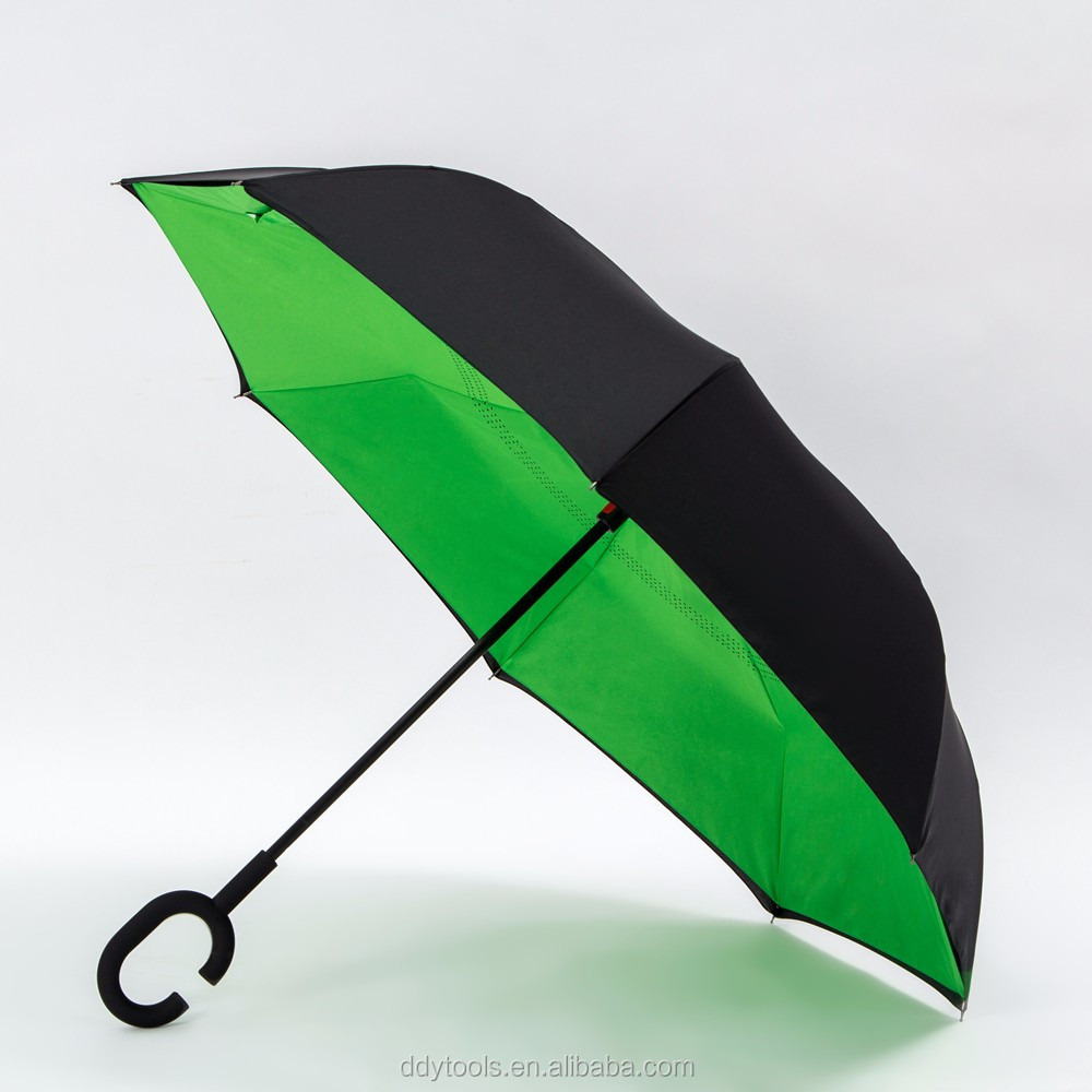 2017 summer green color reverse umbrellas custom made invert umbrella