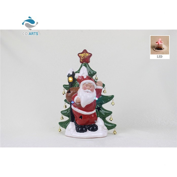 Hot selling holiday decoration LED ceramic sculpture imported Christmas ornaments