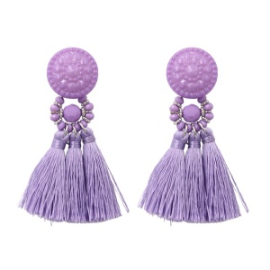 Fashion Women Mulity Colour Silk Tassel Drop Earrings wholesale