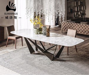 Restaurant furniture italian marble top dining table with solid wooden legs
