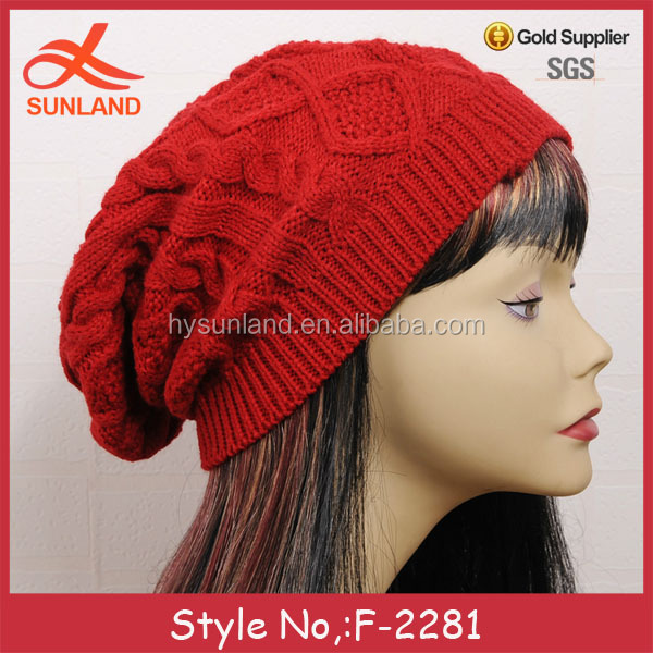 F-2281 new 2017 hot sale twist design orange knitted beanie hat china store OEM