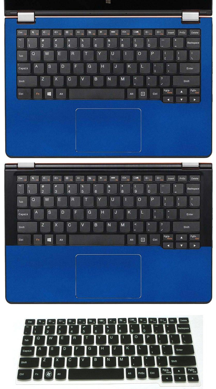 "3 in 1 Full+Half Wrist Palmrest Touchpad Trackpad Skin + Keyboard Cover Protector for 11.6"" Lenovo Yoga 3 11-inch (shimmery deep blue palmrest sticker+half palmrest sticker+semi-black keyboard skin)"