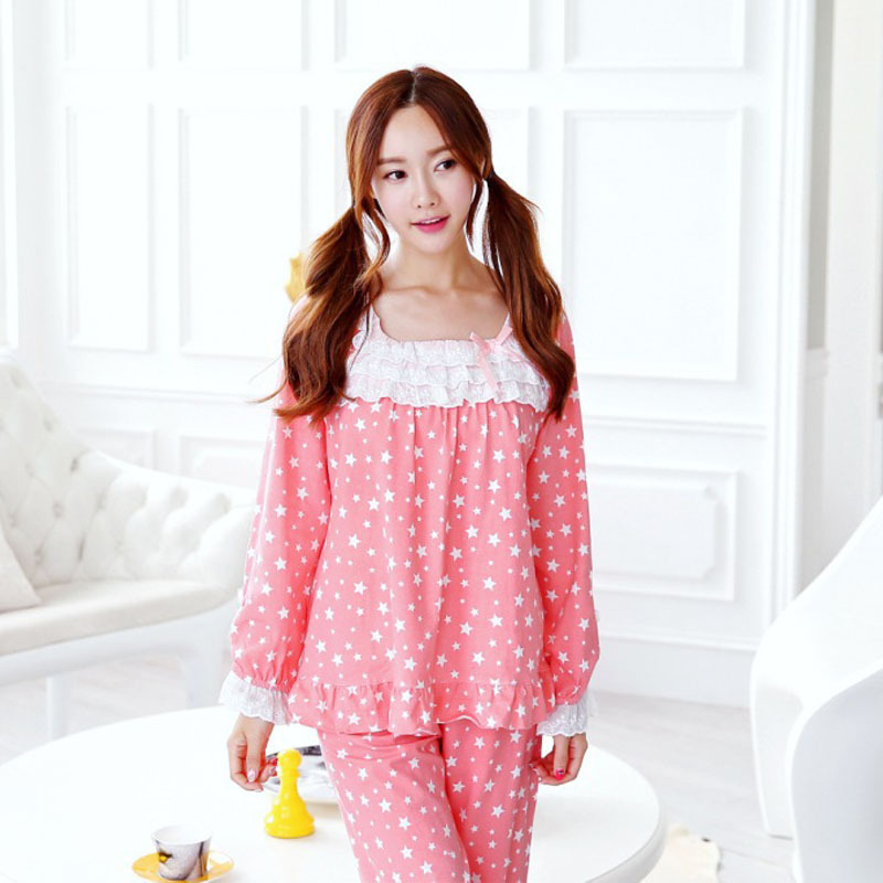 Get Quotations · Pajama Sets women Clothing Sleepwear 96% Cotton Pyjamas  Plus Size Women Sleep Nightgowns Long Sleeve f8ca47c85