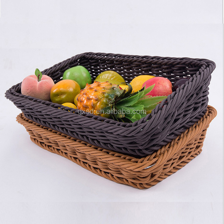 Supermarket rack accessory rattan basket PE wicker woven vegetable fruit basket wholesale