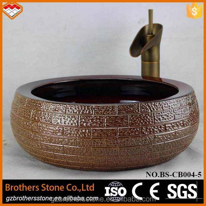 BS-CB004-5 luxury style antique art ceramic indoor decorative face wash basin