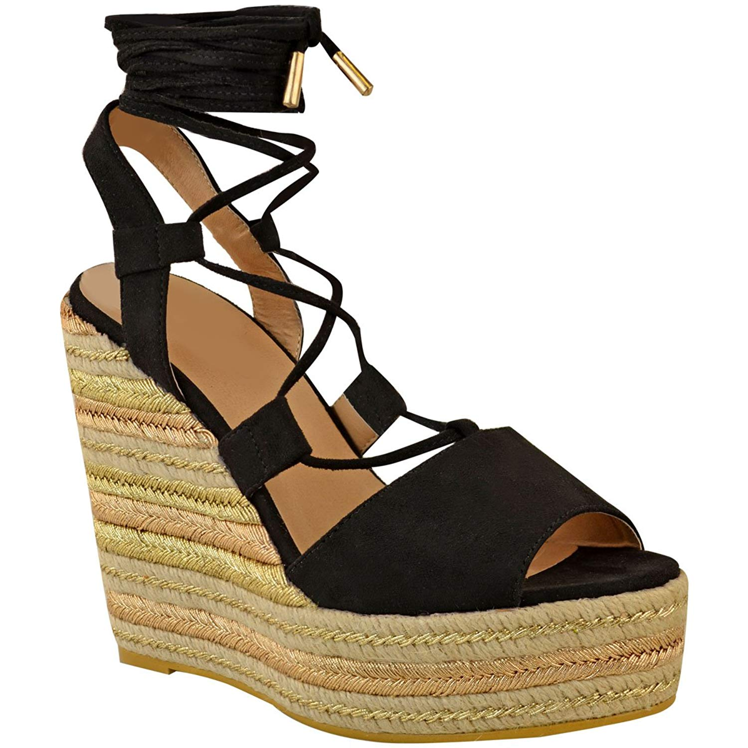 48f5dd02ed8 Get Quotations · Fashion Thirsty Womens Wedge Espadrille Sandals Lace Tie Up  Strappy Party Size