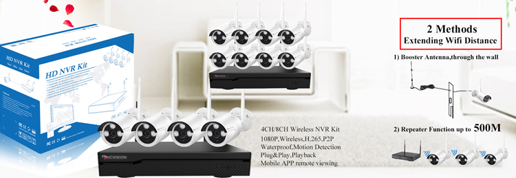 HCVISION Cascade Wifi H.265 P2P 8 ch 1080P Wireless Security Camera System With Audio