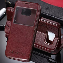 luxury original case for samsung galaxy s6 s 6 g9200 by fashion pu leather holster view phone flip window retro stand bag cover