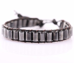 2018 Wholesale Factory price fashion jewelry 4*6mm natural hematite tube beads bracelet
