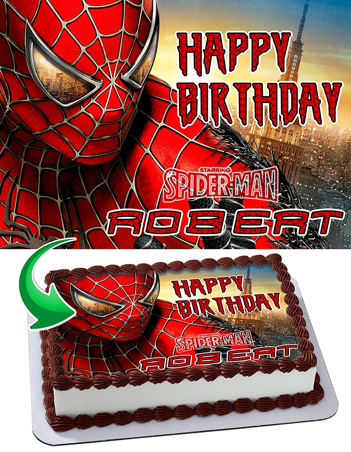 2c9ca8e36aaf Get Quotations · Spider-Man Personalized Cake Toppers Icing Sugar Paper A4  Sheet Edible Frosting Photo Birthday Cake