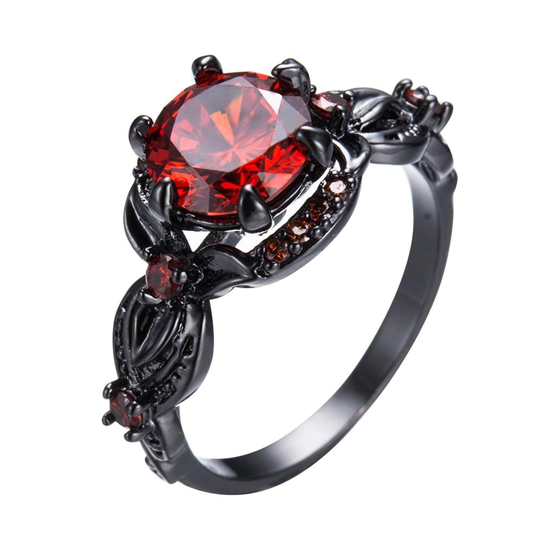 PSRINGS Retro Vintage Red Zircon Stone Ring Black Gold Filled Wedding Flower Shape Finger Rings