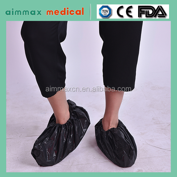 Black color Waterproof CPE shoes cover/ disposable Shoe Cover/medical shoes covers