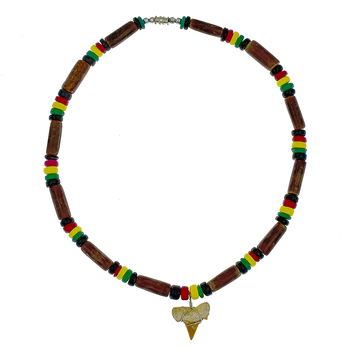 Men S Necklace Rasta Coconut Brown Bamboo Combination With Shark Tooth Clay Pendant