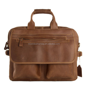 15 inch Vintage Crazy Horse Briefcase Genuine Leather Laptop Bag