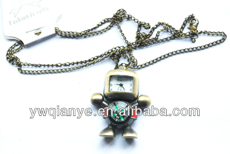 New robot gold watch necklace