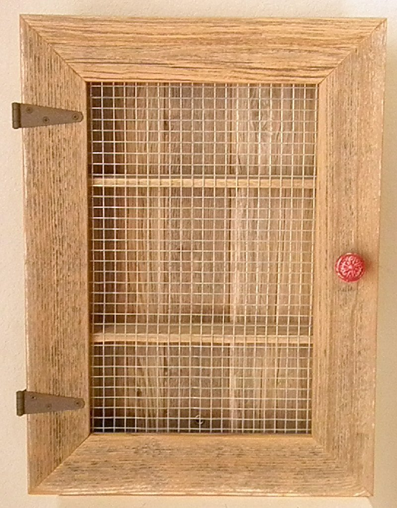 Country Cabinet. Rustic Spice Cabinet with Red Distressed Knob. Country Kitchen Cabinet.