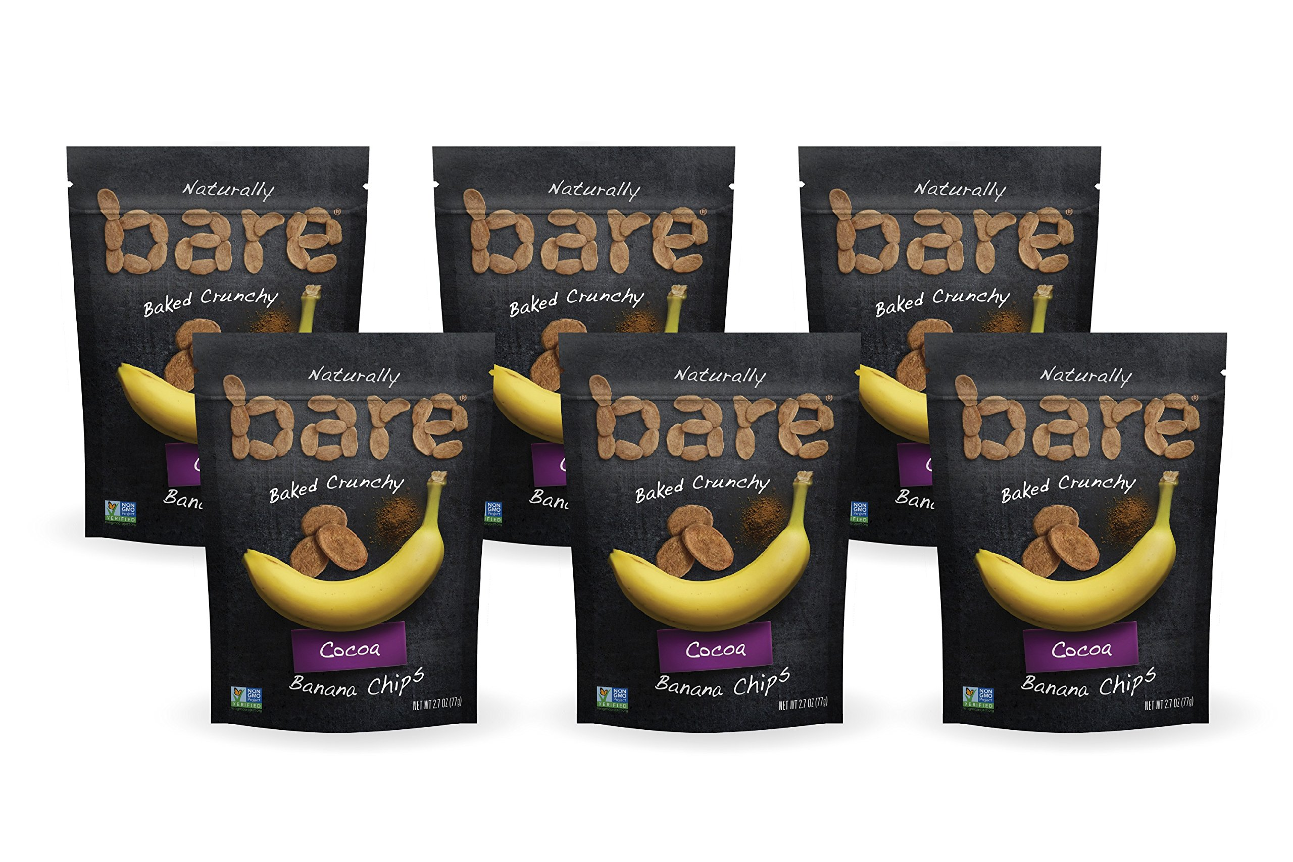 Bare Natural Banana Chips, Cocoa, Gluten Free + Baked, Multi Serve Bag - 2.7 Oz (6 Count)