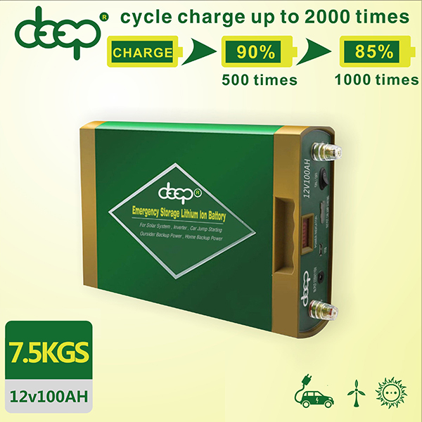 Convenient high configuration 12V 100AH deep cycle lithium ion battery for solar panels