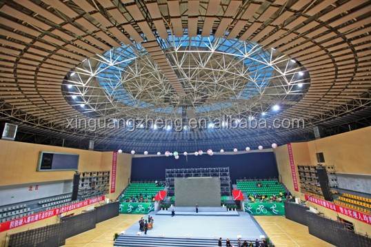 curved steel structural warehouse metallic roof structure