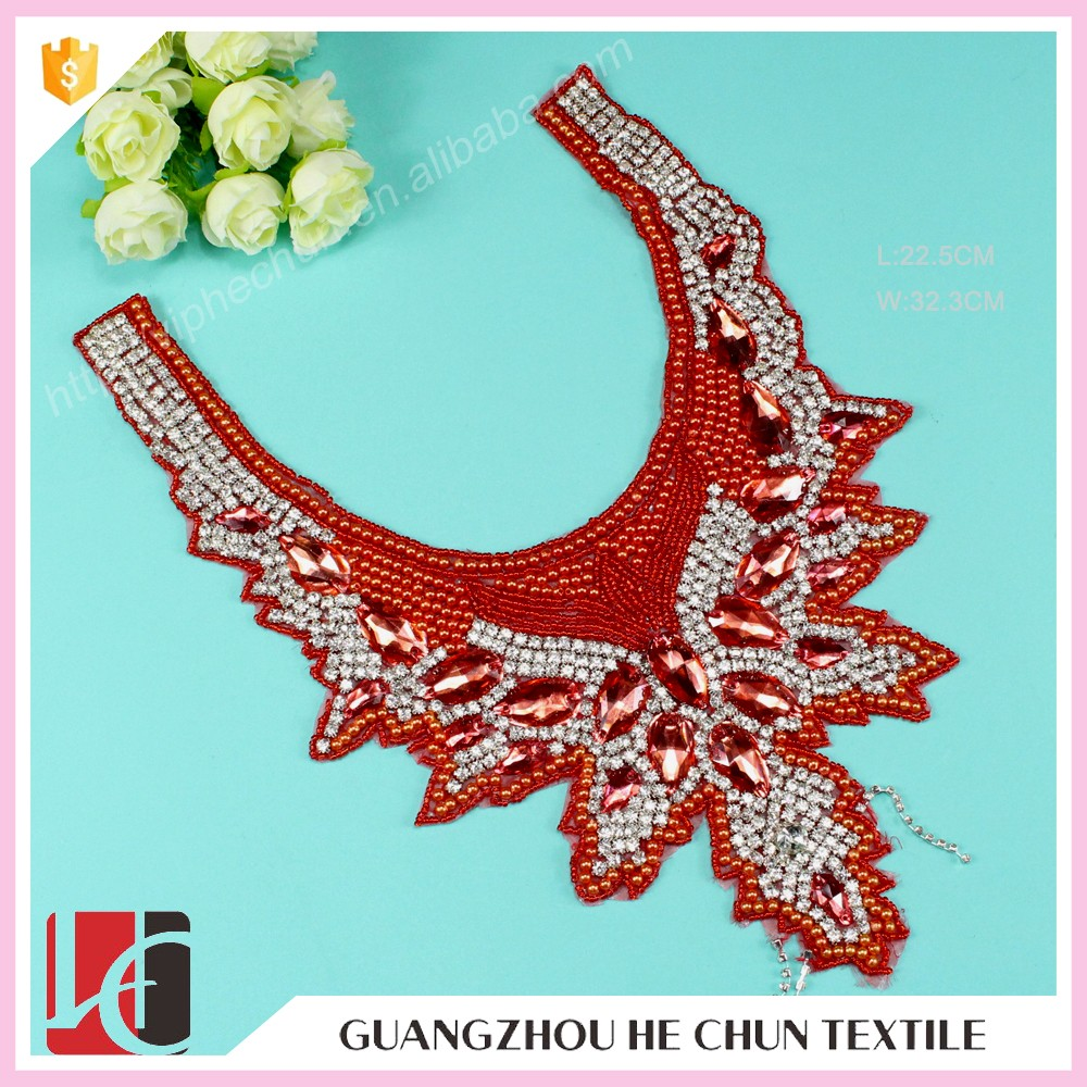 HC-5369-1 Hechun Red Sew on Fashion Handmade Collar Bead Trim for Clothing