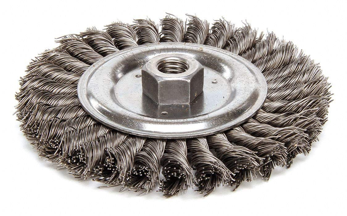 "6"" Twisted Wire Wheel Brush, Arbor Hole Mounting, 0.023"" Wire Dia, 1-1/4"" Bristle Trim Length, 1 EA"
