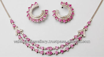 10888ea36d7bf Pink Sapphire And Diamond Designer Set