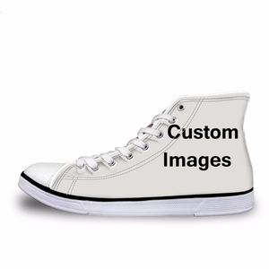Classic Women High Top Vulcanize Shoes Customized Images / Wholesales Woman Casual Flat Canvas Shoes / Drop Shipping