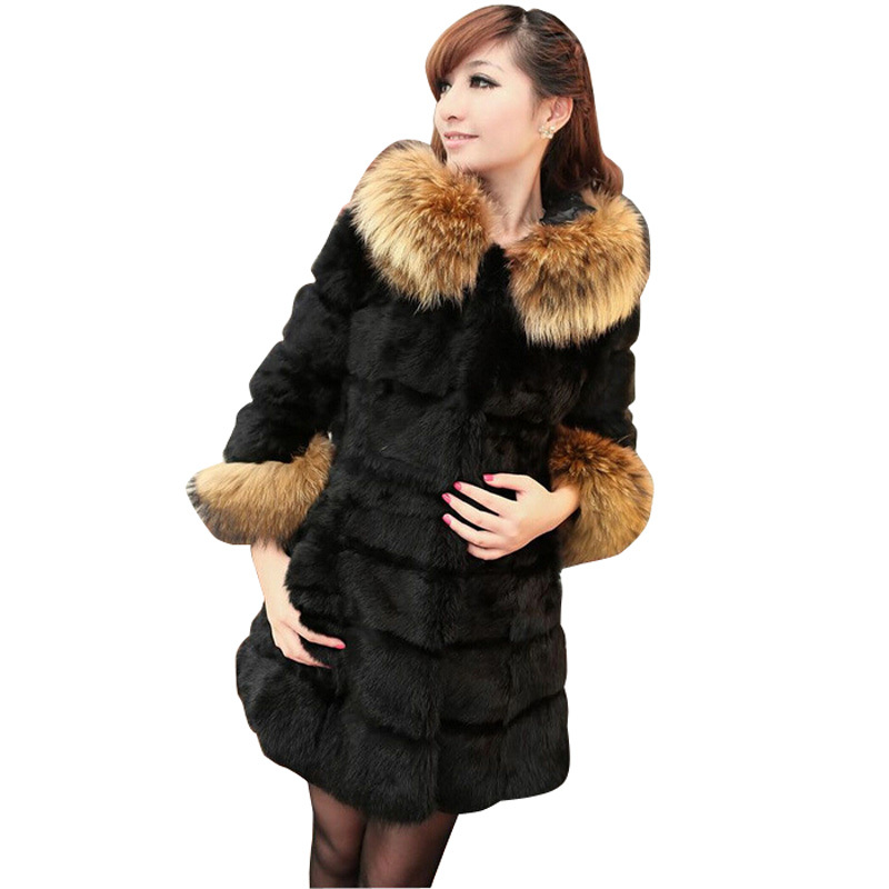 2015 Europe Winter Coat Women Faux Mink Fur Flocking Long Cardigan Women Coat Hit Color Casaco Manteau Black Wild Women Feminino