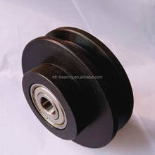 Black nylon U groove plastic wheel pulley with dual bearing 12mm bore