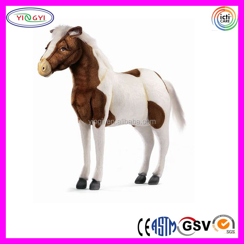 D702 Kids Soft Animal Standing Horse Stuffed Toy Plush Life Size