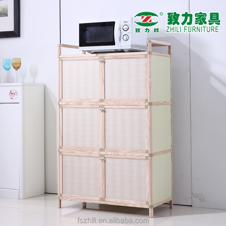 Hot selling large capacity durable and simple assembly wood vein glass kitchen <strong>cabinet</strong> with doors