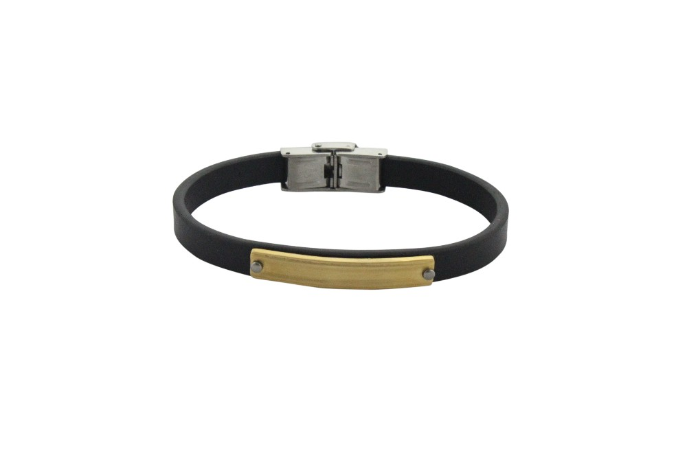 good quality black Italian leather bracelet customized with stainless steel accessory for men