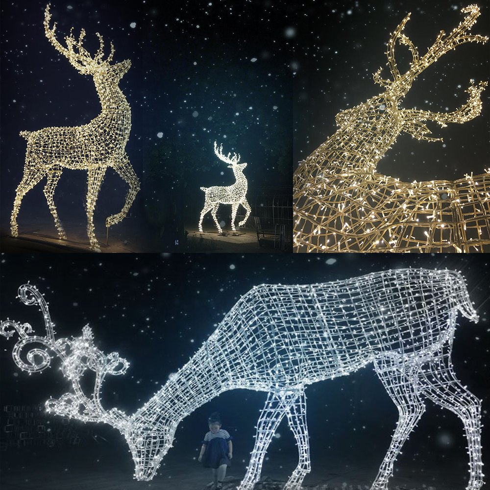 outdoor lighted christmas sculpture lights reindeer moose led for lawn decoration
