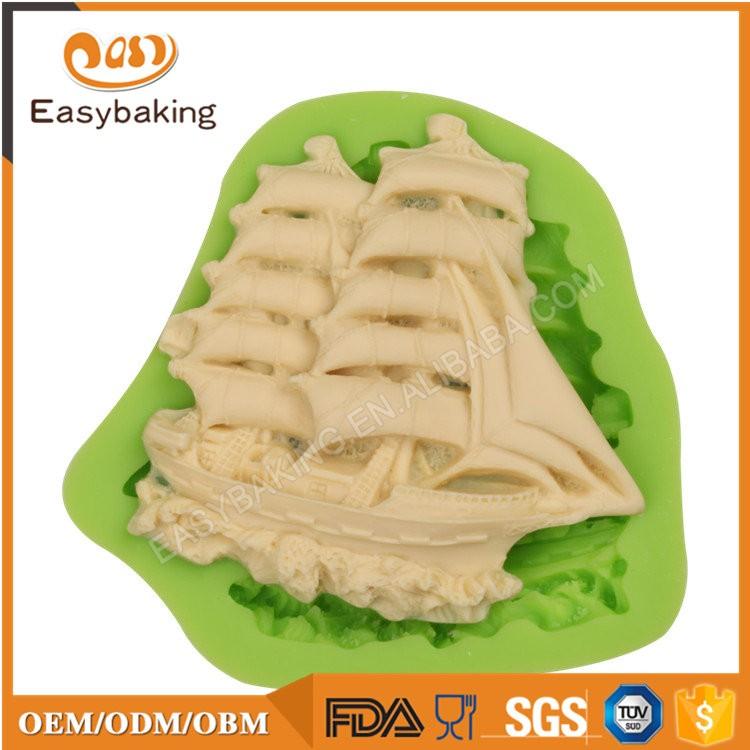 ES-6415 Boat Shape Fondant Mould Silicone Molds for Cake Decorating