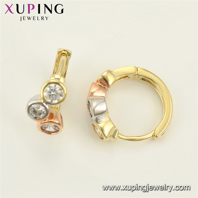 98191 Xuping Jewelry beautiful earring designs for women girls, brass gold plated earrings