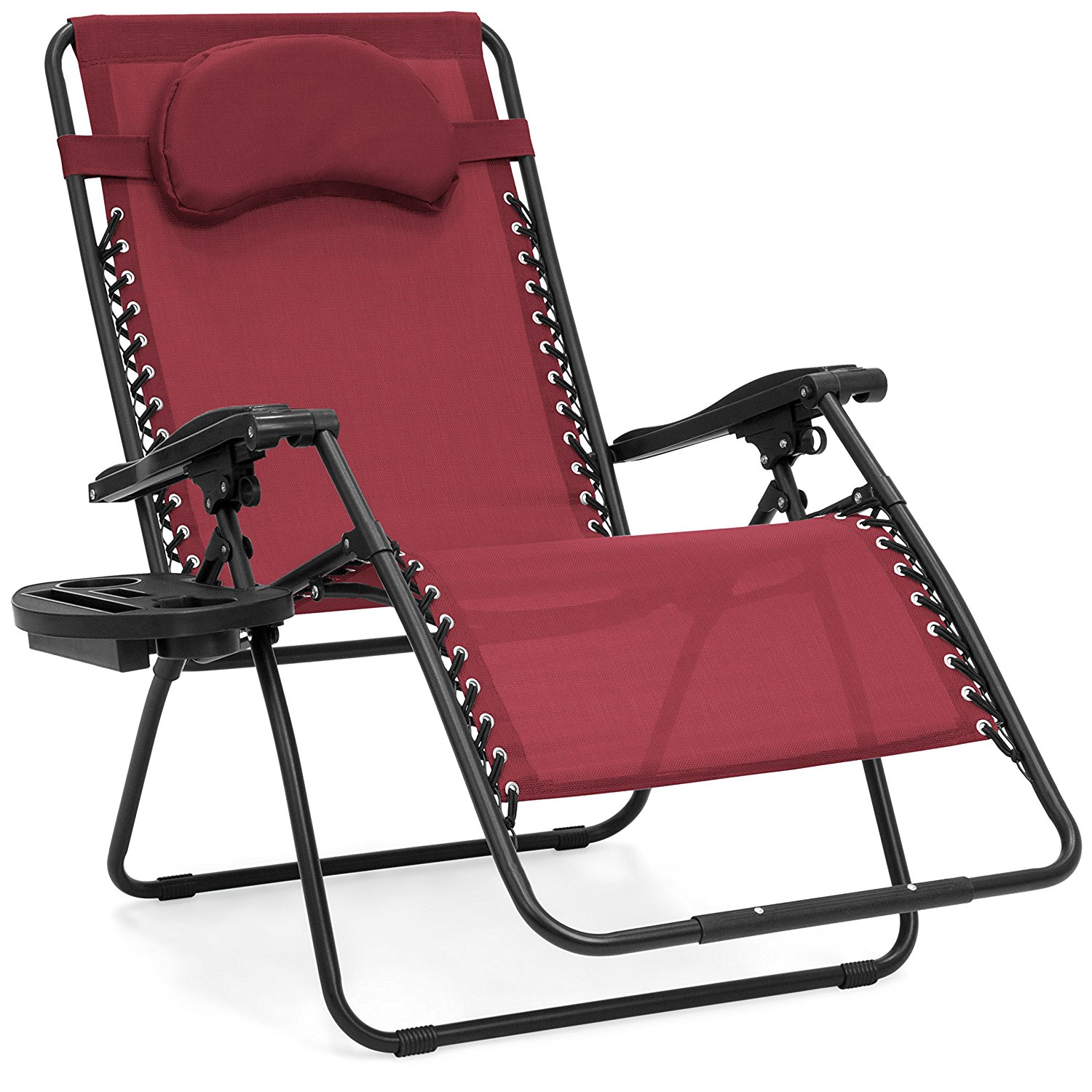 Best Choice Products Oversized Zero Gravity Outdoor Reclining Lounge Patio Chair w/Cup Holder - Burgundy
