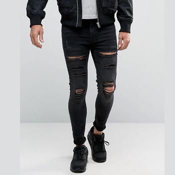 55a55f9373f Мужские черные рваные джинсы Модные узкие джинсовые брюки пользовательские  брендовые джинсы