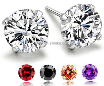 S925 silver earring 6mm zircon stud earring free shipping