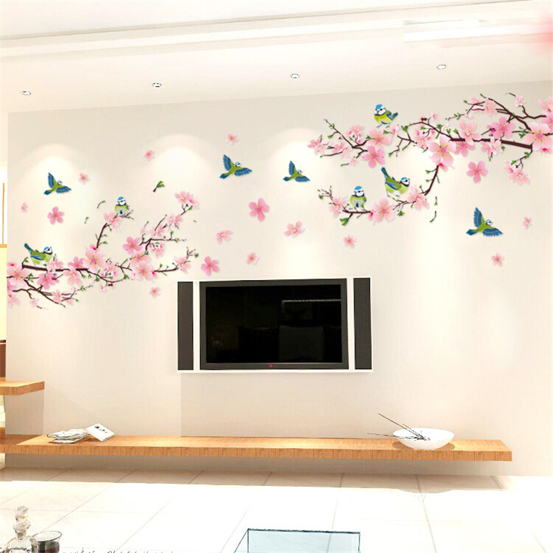 Sakura Wall Stickers Decal Bedroom Living Room DIY Flower