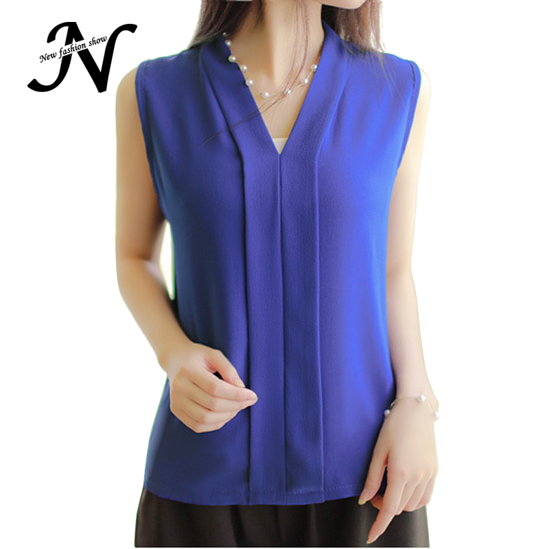af5e82db2c680 Get Quotations · Blusa Feminina Sem Manga 2015 Summer Style Elegant Sheer White  Red Black Blue Purple Colour Chiffon