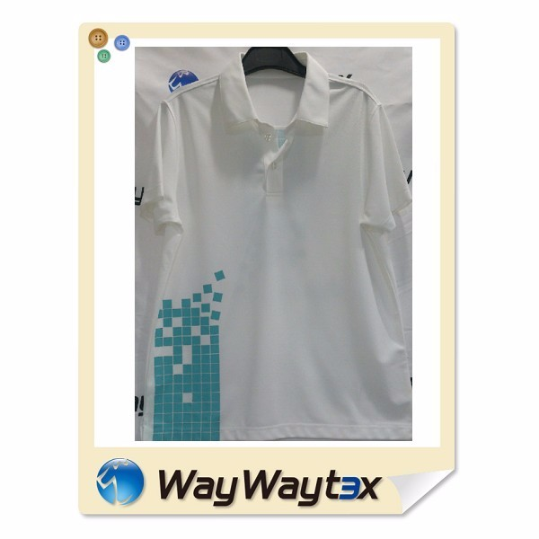 Vietnam clothing print quick dry men's knitted sports white polo shirt