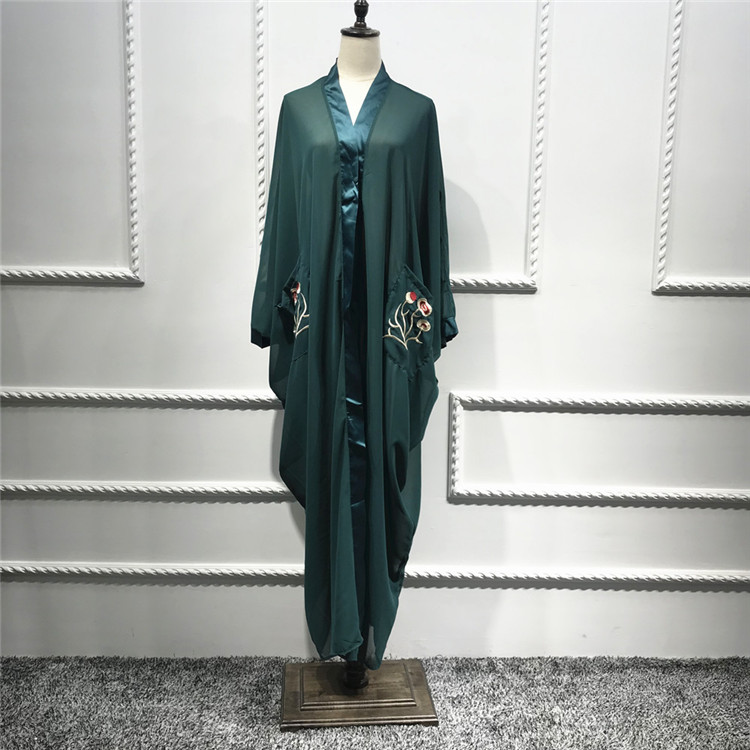 Embroidery 2019 New Fashion Fashionable Eid Ramadan Dark Green Making Machines Sheer Sleeveless Cardigan