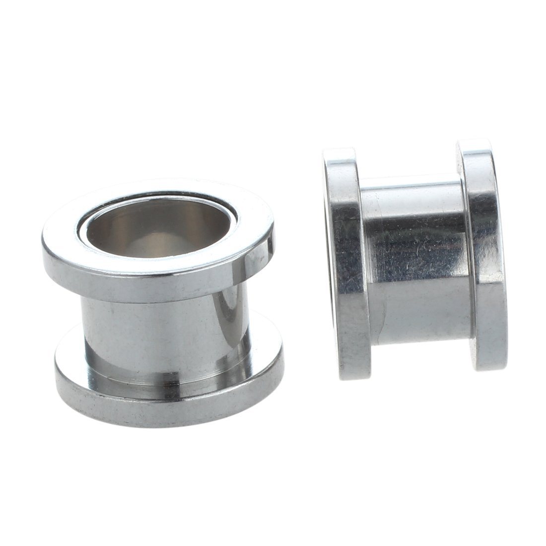 14mm Rimmed Silver Tunnels Amount:pair Silver Steel Gauge Earring Punk Flesh Tunnel Ear Plugs Rimmed Flat Style Type:391